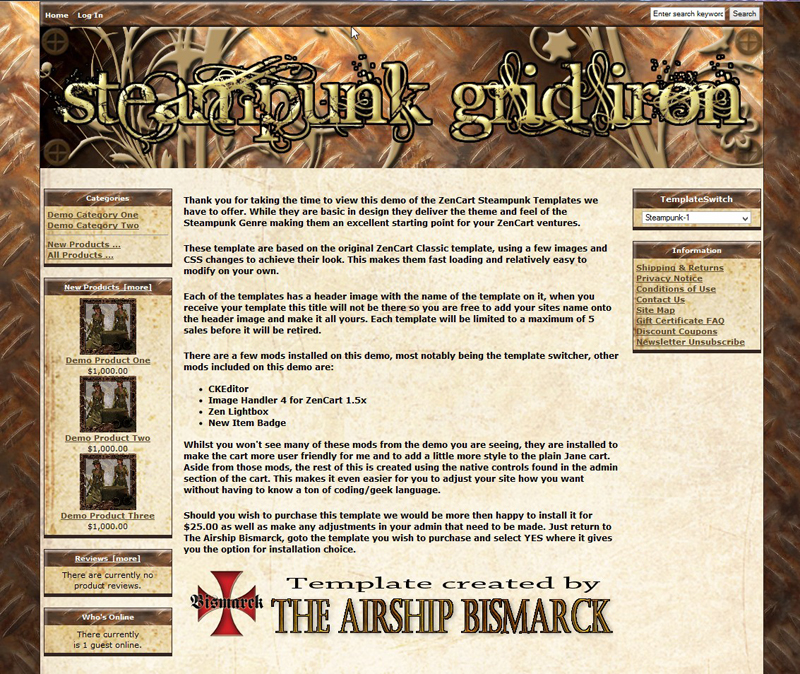 steampunk grid iron zencart template asb zc 0001 15 00