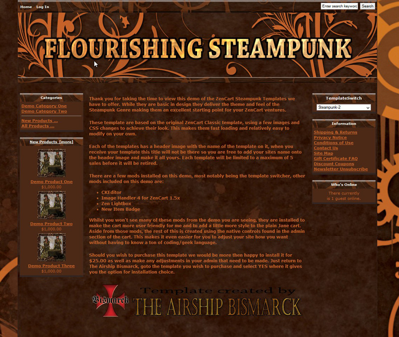 Flourishing Steampunk ZenCart Template