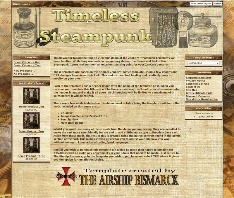 Timeless Steampunk ZenCart Template