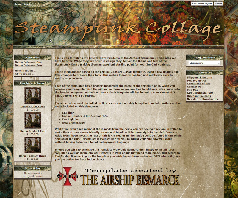 Steampunk Collage ZenCart Template