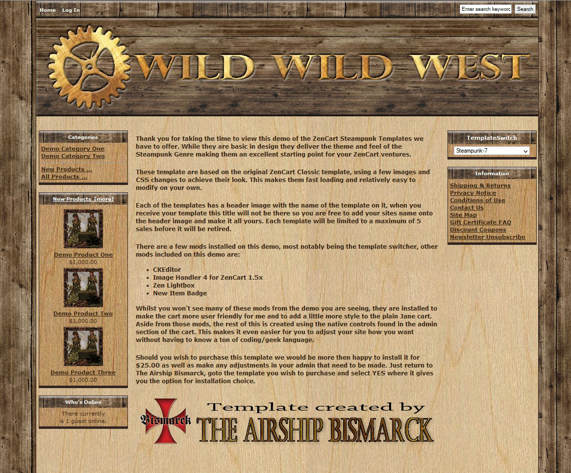 Wild Wild West ZenCart Template