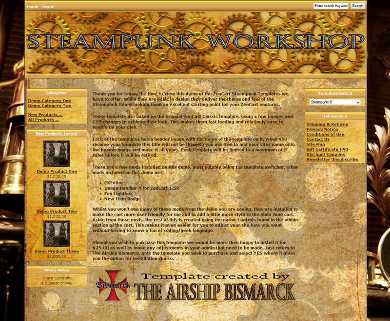steampunk workshop zencart template asb zc 0008 15 00