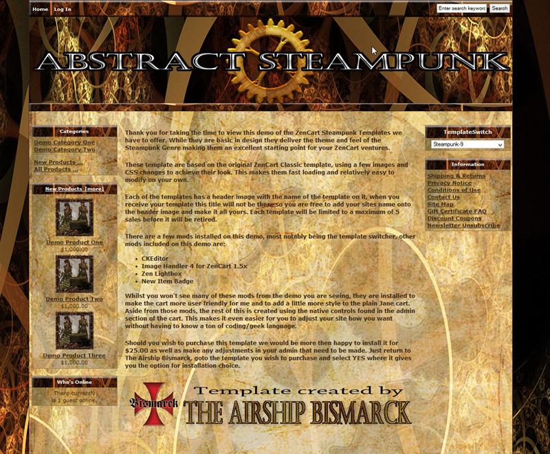 abstract steampunk zencart template asb zc 0009 15 00