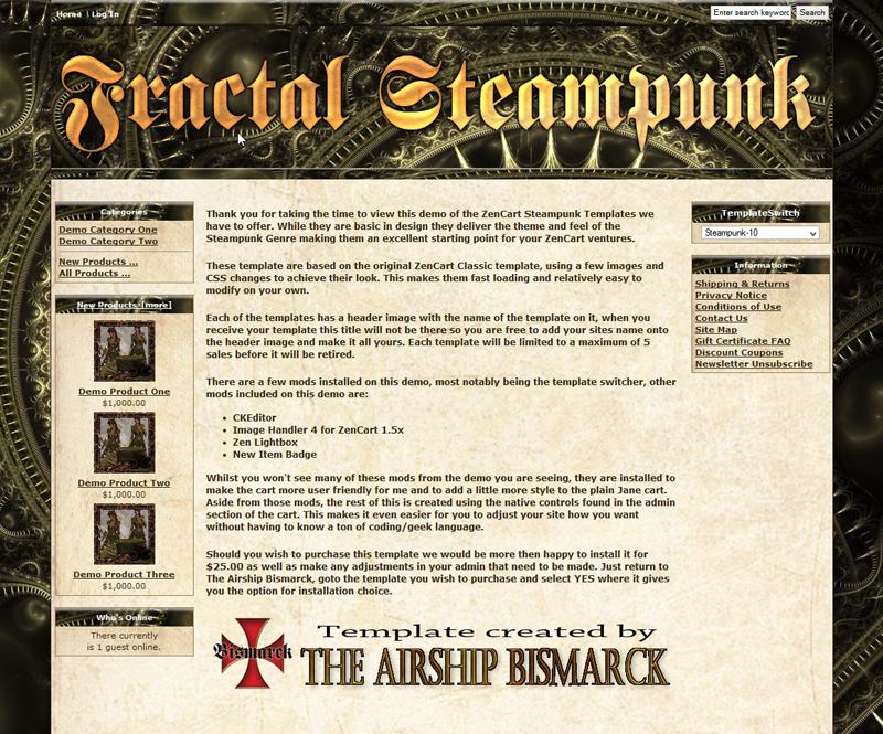 fractal steampunk zencart template asb zc 0010 15 00 valhalla